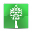 Eco icon.green puzzle with the image of a white tree.puzzles wit — Stock Vector
