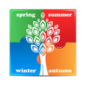 Puzzle with the image of seasons.icon times of the year isolated — Stock Vector