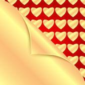 Zlaté srdce na červené background.backgrou nd pro valentine day.go — Stock vektor