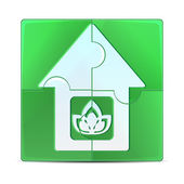Green puzzle with the image of the house.eco icon isolated on a — Stock Vector