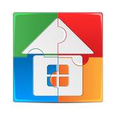 Puzzle colorato con una foto dell'isola di mosaico house.colored — Vettoriale Stock