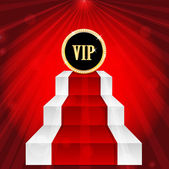 VIP sign on the top of the stairs on red rays background.VIP mar — Stock Vector