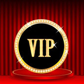 Icon in gold with jewels and the word vip.VIP mark on the podium — Stock Vector