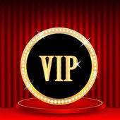 Εικονίδιο σε χρυσό με κοσμήματα και η λέξη vip.vip σήμα στο βάθρο — Διανυσματικό Αρχείο