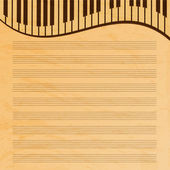 Music paper decorated with keys.old music paper.grunge effect.mu — Stockvector