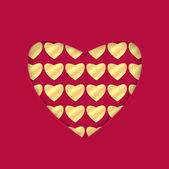 Background for Valentine's Day.heart with a gold pattern.red bac — Stock Vector