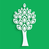 Tree cut from white paper on green background.eco icon.vector — Stock Vector