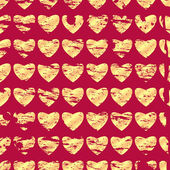 Pattern of gold hearts on a red background.background for Valen — Stock Vector