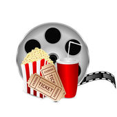 Movie icon.items for cinema isolated on white background.reel of — Stock Vector