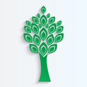 Tree cut from green paper on white background.eco icon.vector — Stock Vector