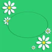 Floral background.camomiles from a paper on a green background.v — Stock Vector