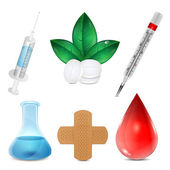 Set of medical icons.items for hospital isolated on white backgr — Stock Vector