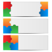 Set backgrounds decorated with colorful puzzles.collection of ab — Stock Vector