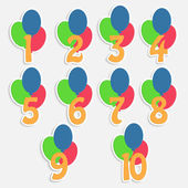 Set of labels with numbers and balloons.colorful banners for chi — 图库矢量图片