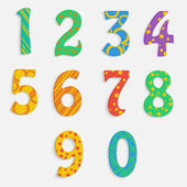 Set of colorful digits.multicolored numbers.vector — Stockvector