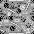 Stock Vector: Seamless pattern with movies symbols.cinembackground.vector