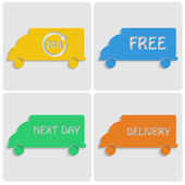 Icons delivery. colorfu cars out of paper on gray background.tra — Stock Vector
