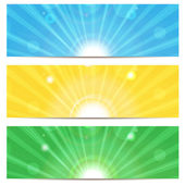 Set of abstract colorful backgrounds.colored background with sun — Stock Vector