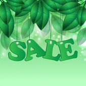 Seasonal sale.floral design. word sale on background spring foli — 图库矢量图片