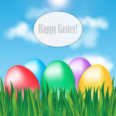 Colorful Easter eggs on green grass on blue sky background and f — Stock Vector