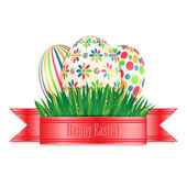Easter eggs with colorful patterns and green spring grass isolat — Stock Vector