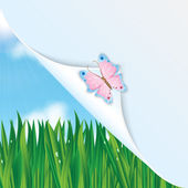 Colorful butterfly on a background of green grass and blue sky a — Stock Vector