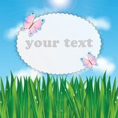 Frame for your text with colorful butterflies on a background of — Stock Vector
