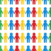 Seamless pattern with colorful human figures out of paper — Stock Vector