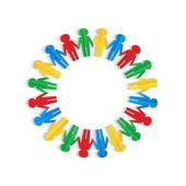 Colorful men of colored paper placed in a circle on a white back — Stock Vector