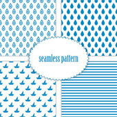 Set of seamless backgrounds with sea patterns — Stock Vector