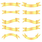 Set gold banners isolated on white background — Stock Vector
