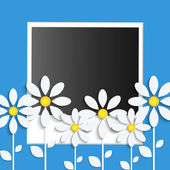 Photo card with paper flowers  on a blue background — Stock Vector