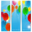 Set of holiday banners for birthday with colorful balloons and p — Stock Vector #48200653