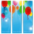 Set of holiday banners for birthday with colorful balloons and p — Stock Vector