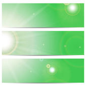 Set of banners with the sun and sunlight on a green background w — Stock Vector