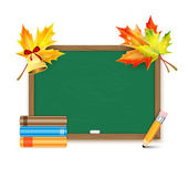 School board with maple leaves and books isolated on white backg — Vettoriale Stock
