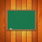 Blackboard and chalk  on background a wooden wall — Stock Vector