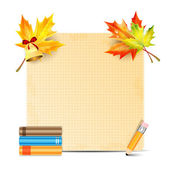 Sheet of paper decorated with autumn leaves of maple and school — Stock Vector