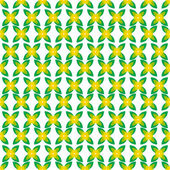 Seamless pattern with yellow flowers and green leaves on a white — Stock Vector