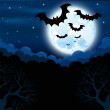 Full moon in the Halloween - Stock Vector