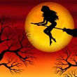 Stock Vector: Witch on broomstick