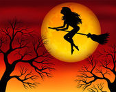 Witch on a broomstick — Vector de stock