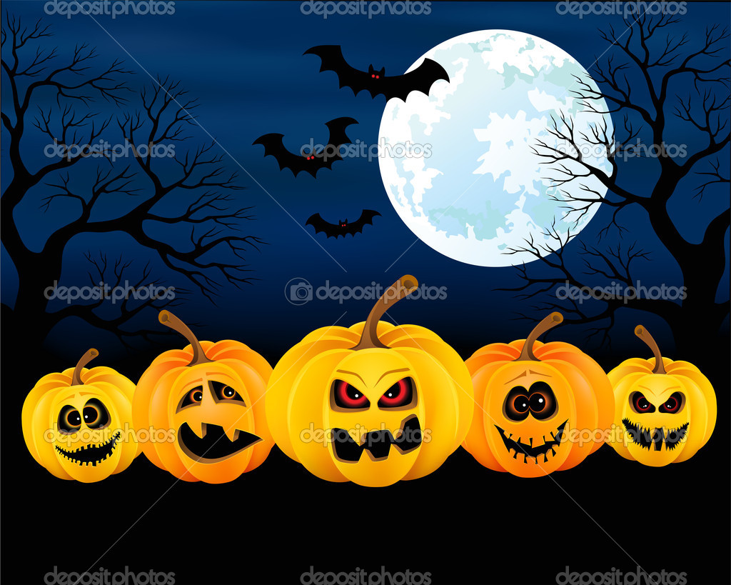 Vector illustration for Halloween with pumpkins — Stock Vector #13863691