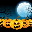 Halloween Pumpkins in the full moon — Stock Vector