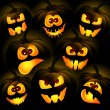 Pumpkins on a dark background — Stock Vector