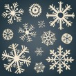Set of snowflakes from old paper — Stock Vector