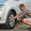 Checking tire - Stockfoto