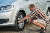 Checking tire — Stock Photo