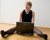 Blondy with laptop — Stock Photo