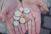 Hands with euro coins — Stock Photo